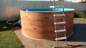Сборный бассейн ЛАГУНА 24413 круглый 244х125 см (светлое дерево)